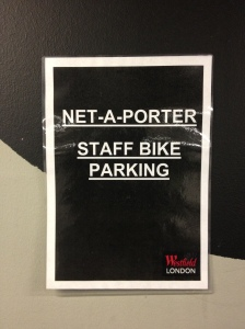 Westfield valet parking bike area net-a-porter sign