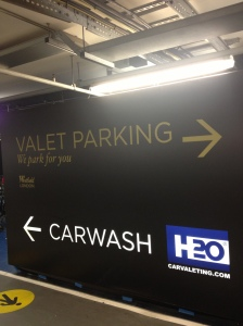 Westfield valet parking carwash sign