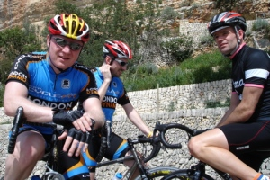 Rapha-clad Guy Andrews with Dynamo co-founder Paul Callinan (centre) and former club captain Nick Peacock, Mallorca 2006