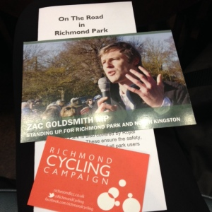 Leaflets handed out at meeting about cycling in Richmond Park
